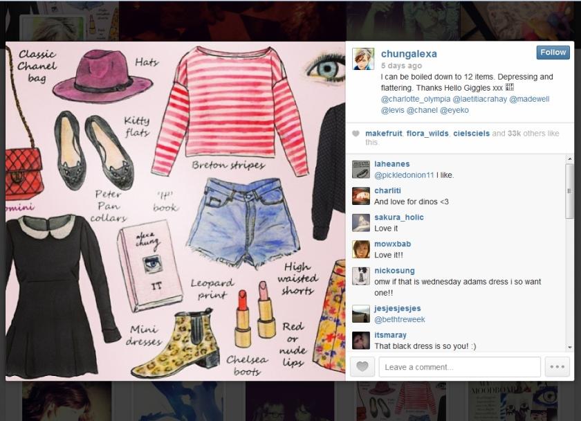 Alexa Chung instagram 13-11-13 met commentaar