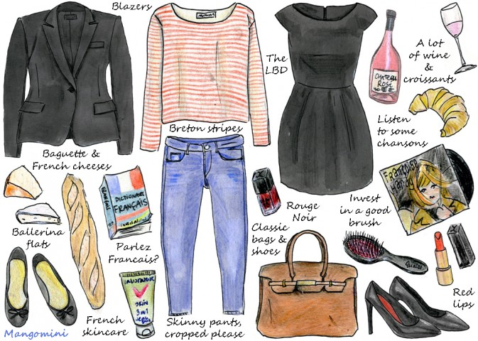 Here's this week's column for Hello Giggles. An illustrated guide to  stealing a bit of the French girl's lifestyle
