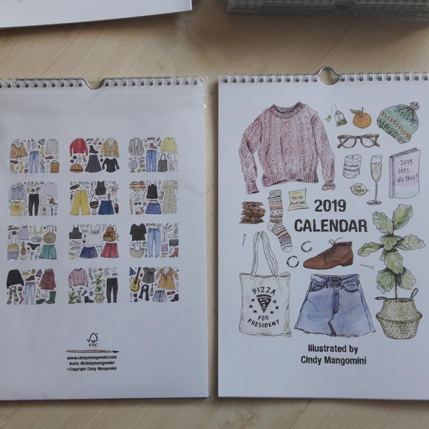 Mangomini 2019 calendar front back