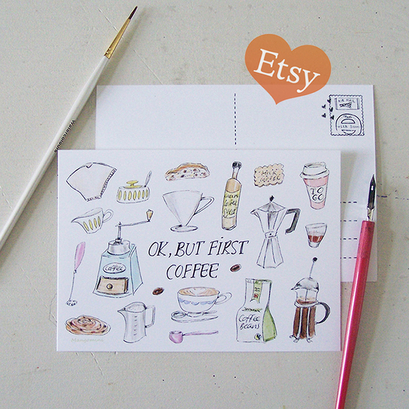 Mangomini first coffee card etsy low