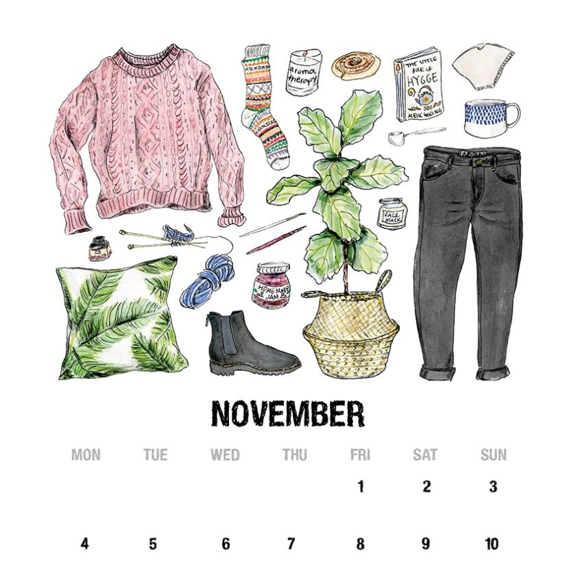 November calendar Mangomini