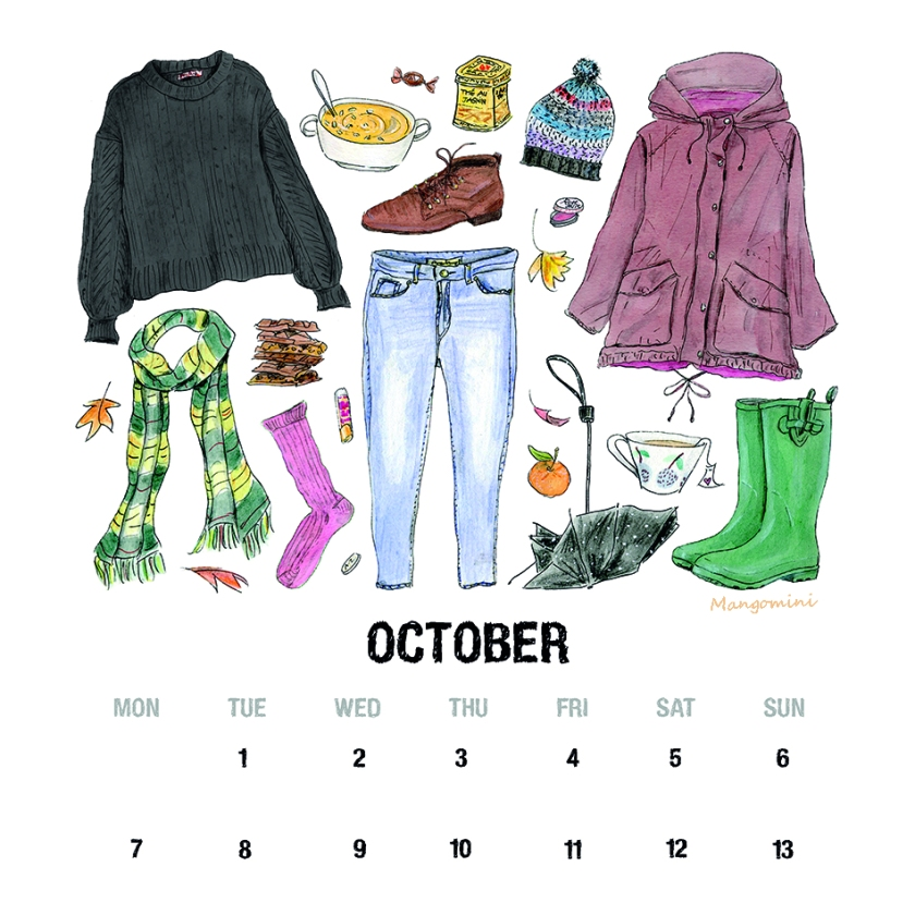 October calendar page with hand drawn color illustrations of typical october and fall clothes, accessories and food. Hand drawn by Cindy Mangomini