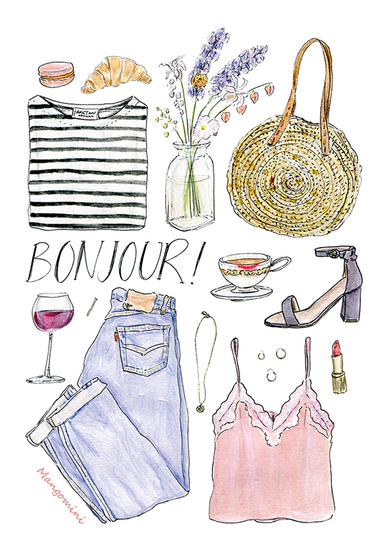 Illustrated Casual French Girl Outft with Hand Lettered Text Bonjour
