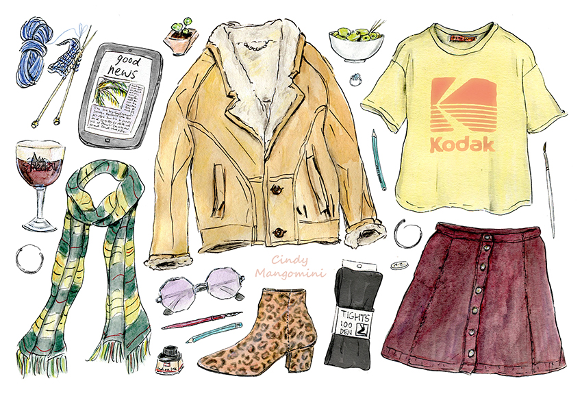 Hand drawn watercolour illustration by Cindy Mangomini depicting playfully drawn women's fashion items to form an illustrated cold weather outfit.