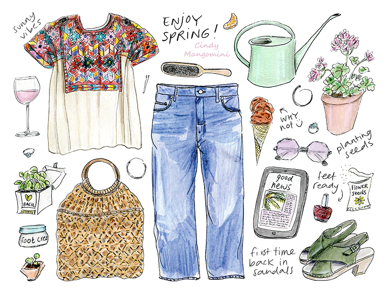 Hand drawn color illustrated fashion, food and plant items celebrating the first day of spring, with a text: enjoy spring
