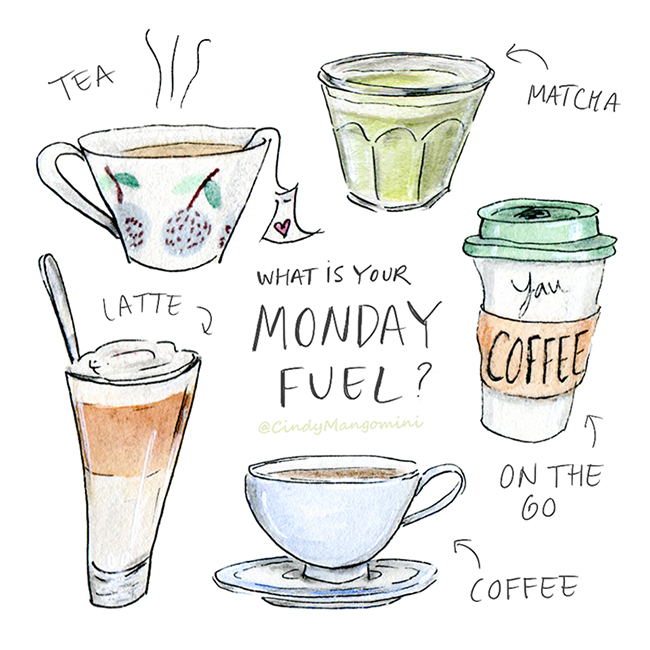 Hand drawn color illustrations of hot drinks, including coffee and tea.